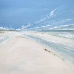 seascape painting with blue sky clouds sand dunes