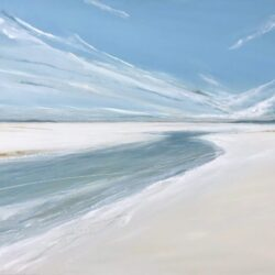 beach seascape painting with blue sky clouds sand and sea